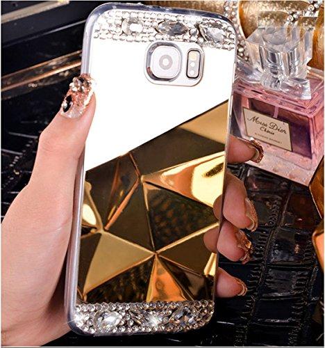 EUWLY Specchio Custodia Per iPhone X, Specchio Soft TPU Silicone Case per iPhone X Cristallo Brillantini Trasparente Clear Custodia Backcover Bling Glitter Shinning Strass Diamante Custodia Ultra Sott specchio,Oro