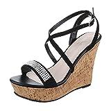 Keilsandaletten Damen Schuhe Plateau Keilabsatz/ Wedge Keilabsatz Schnalle Ital-Design Sandalen / Sandaletten Schwarz, Gr 40, Zh703-