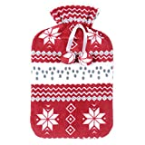 Red Fleece Covered Large Hot Water Bottle White Snowflake Nordic Pattern Open Top Natural Rubber