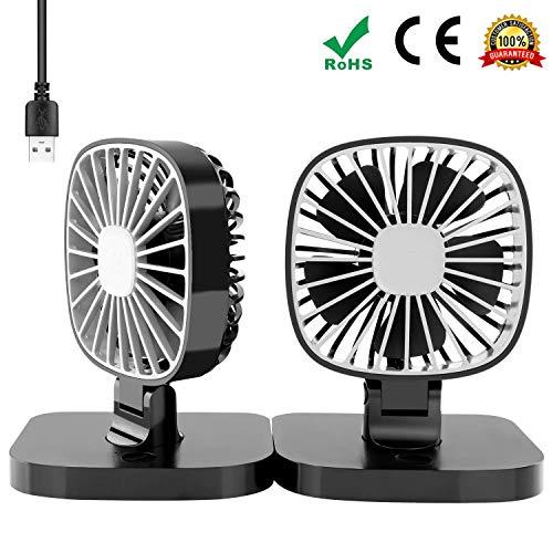Florally USB Auto Ventilator, Auto Fan, 12V Auto Lüfter mit 3 Geschwindigkeiten, Auto Kfz Lüfter, Doppellüfter, Gebläse Klimaanlage Fan, Vertikal und Horizontal Einstellbar Ventilator, Leistung 4W