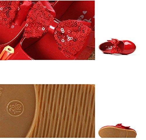 Ohmais Enfants Filles Chaussure cérémonie Ballerines à bride Fête Demoiselle d'honneur Mariage Escarpin à petit talon Rouge