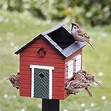 Wildlife Garden Vogelhaus Futterhaus Rotes Haus mit Bad Holz