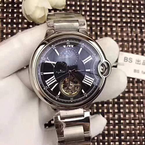 PLKNVT Automatische Mechanische Herrenuhr Leder Silber Rose Gold Transparent Mondphase Uhren Schwarz Blau TourbillionSilber Schwarz