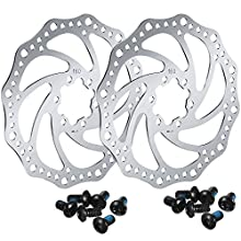 2 Pieces 160 mm Bike Bicycle Disc Brake Rotor with 12 Bolts Stainless Steel Bicycle Rotors Screws for Road Bike, Mountain Bike, MTB, BMX Bicycle Accessories (Card Dot)