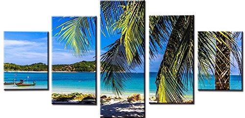 obella Modern Leinwand Bilder Drucke Art Wand 5Stück || Meer Sky Beach Boot Mountain Landschaft || Poster Öl Gemälde Prints und Bilder Foto Wand Kunst für Zuhause decoration-frameless (Boot-rack Ski-und)