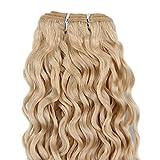 Beauty7-100g 100% Echthaar Haartresse Tief Wellig/Deep Wave Brasilianisch Remy Haarverlängerung Haarverdichtung Länge - 16 inch.40cm #613 Blond