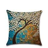 ColorYan Baum Blumenmuster Kissenbezug Car Home dekorative quadratische Sofa Dekokissen Fall 18 x 18 Zoll 45 cm x 45 cm Frühling Gebühren Home Decor (Farbe : 27)