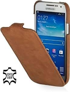 StilGut UltraSlim Case, Tasche aus Leder für Samsung Galaxy S4 Mini (i9195), Cognac Vintage