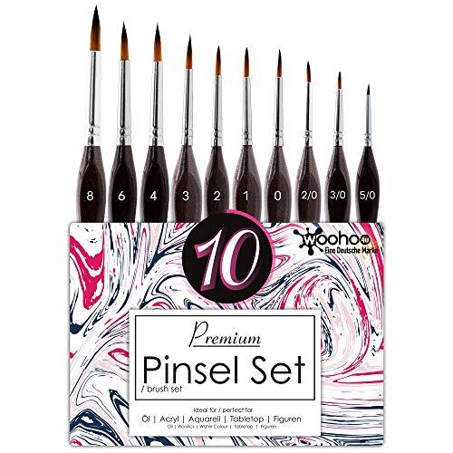 woohoo4u® Premium Detail Pinsel Set Malen mit Farben - Idealer Malpinsel für Acryl, Aquarell, Wasserfarben, Ölfarben, Modellbau, Warhammer 40k - Professionelles Paint Brush Set [10 Stück] -