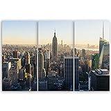 ge Bildet® hochwertiges Leinwandbild - New York City Skyline - 90 x 60 cm mehrteilig (3 teilig)