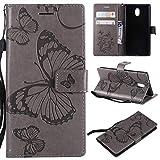 KKEIKO Nokia 3 Hülle, Nokia 3 Leder Handyhülle Schutzhülle [ mit Gratis Panzerglas Schutzfolie ], Schmetterling Muster Stoßsichere Lederhülle Brieftasche Case für Nokia 3 - Grau