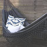 Gris toile hamac brésilien double extra-large glands extérieur jardin intérieur Camping portable