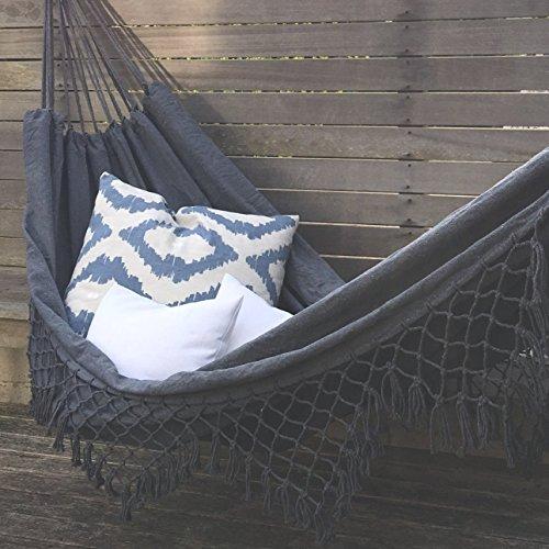 Grau Canvas Hängematte Brasilianisches Doppel Extra-große Quasten Outdoor Indoor Garden Camping Portable