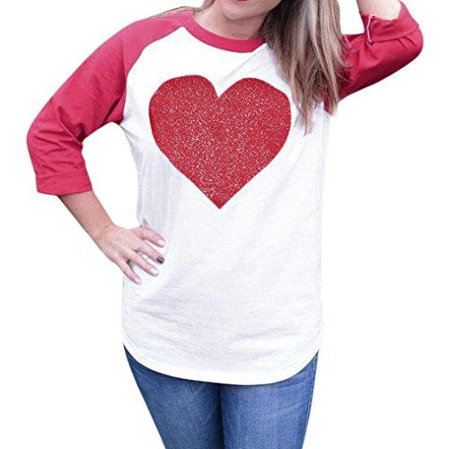 VENMO Frauen Valentinstag Langarm Rundhals Love Shirt Bluse Splice Langarm Shirt Pullover Gemütlich Splice Printing Tops Elegantes charmantes T-Shirt Oberteil mit Einzigartig Niedlich (Red, XL) (Charmante Streifen-kragen)