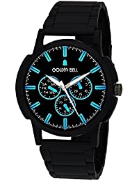 Golden Bell Original Black Dial Black Steel Chain Analog Wrist Watch For Men - GB-996