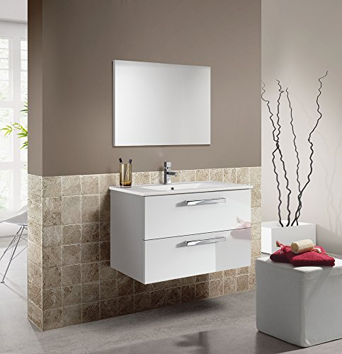 PEGANE Set de Meuble sous lavabo avec 2 tiroirs Blanc Brillant/Blanc Laqué + Lavabo Blanc + Miroir