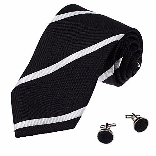 IHAOGEI Premium Gestreifte'S Tie Mode Männer Geschäft Binden (Manschettenknöpfe Senden) - Verschiedene Farben, E Schlips
