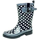 BOCKSTIEGEL® DORIN Damen - Modische Gummistiefel | 36-42 Rubber Boots | Regenstiefel | Polka Dots | Gepunktet, Farbe:Dunkelblau;Größe:40 / UK 6.5