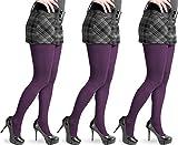 normani 1-3 Stück hochwertige warme Damen Feinstrick Strumpfhose aus Baumwolle mit Elasthan Farbe 3 x Pflaume Größe S/M
