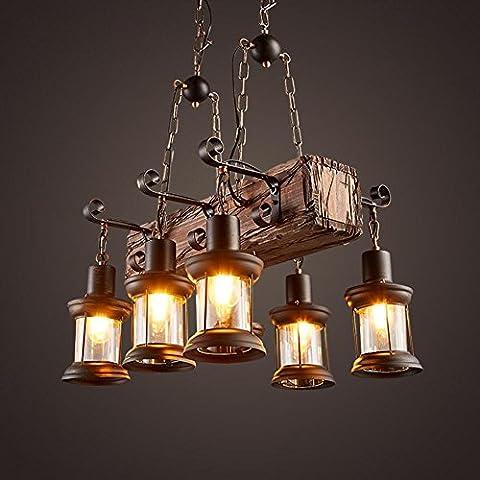 BJVB Industrial Cafe dormitorio sala de estar sólida madera decorativos candelabros (jaula)