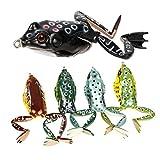 Juego de señuelos Runcl, de agua topográfica, para pesca de rana, paquete de 5, 5 frog lures...