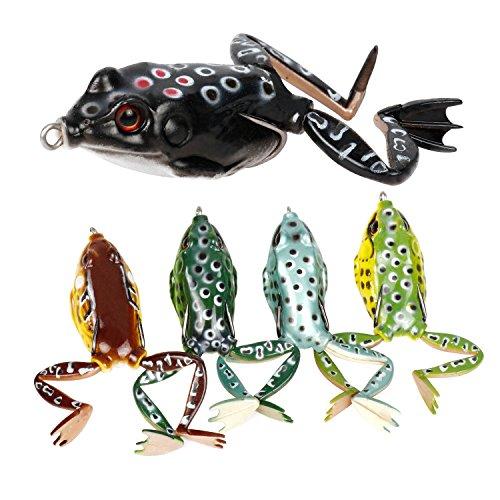 RUNCL Topwater Grenouille Leurres, doux Leurre de pêche kit avec boîte d'accessoires pour Pike basse Snakehead Dogfish musquée (lot de 5), 5 frog lures with legs