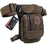 CyberDyer Leinwand Taille Oberschenkel Tasche Military Tactical Hip Gürteltasche 4. Bein Tasche Pack für Wandern Camping Outdoor-Aktivitäten, Braun