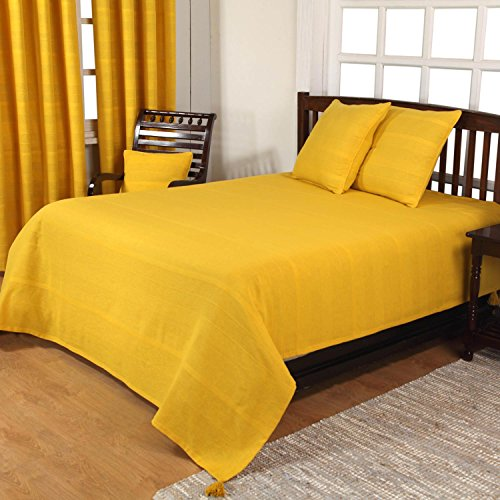 Homescapes Rajput Ribbed Throw 100 x 140 Inches Tangerine Yellow 100% Cotton, Suitable for most 3 Seater Sofas or Double, King bedspreads, Easy care, washable at home.