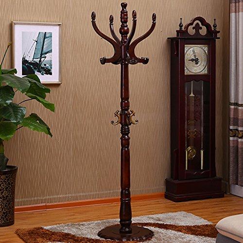 SKC Lighting-Porte-manteau Porte-manteau rond porte-manteau en bois solide vêtements Rack Cintre minimaliste moderne bureau maison verticale Hat Hat brun, blanc (42 * 42 * 180cm) (Couleur : Marron)