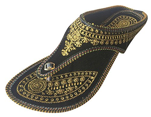Schritt N Style Panjabi Jutti indischen Schuhe Flach Flop Flop Khussa Schuhe Jaipuri Sandalen, Schwarz - schwarz - Größe: 40