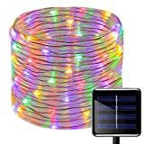 100 LEDs Solar Seil Lichterkette,KINGCOO Wasserdicht 39 ft/12 m kupfer Draht Outdoor Tube Lichterkette für Weihnachten Garten Yard Weg Zaun Baum Backyard (Multi)