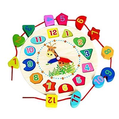 Vi.yo Reloj Madera de la Enseñanza del Reloj del Rompecabezas Juguetes Juguete de Madera Educativo para Los Niños Reloj Digital Reloj Madera de Abalorios por Vi.yo