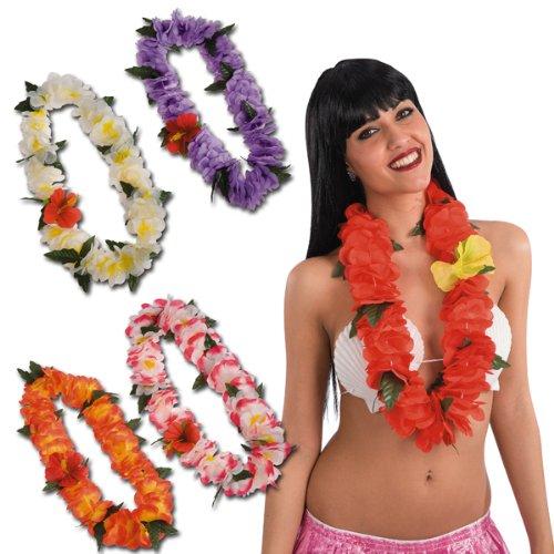 Carnival 4717 - Collana Hawaii, Disponibili in 5 Colori Assortiti (aracione, viola, bianca/gialla, bianca/fuxia, rossa)