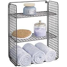 mDesign Repisa de pared plegable con 3 niveles – Baldas para baño de  alambre metálico – Cesta de alambre para guardar toallas de baño f2484fa914b9