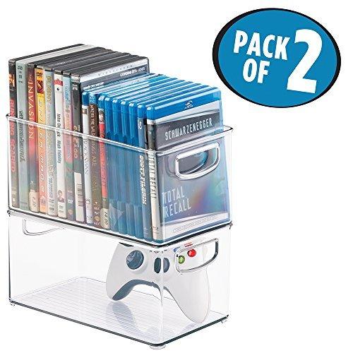 mDesign Set da 2 contenitori in plastica porta DVD usato  Spedito ovunque in Italia