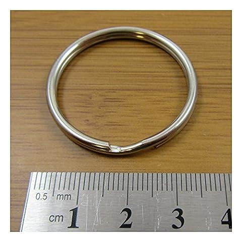 STEEL SPLIT RINGS 8mm - 40mm *13 SIZES* KEYRING KEYFOB CONNECTOR UK SELLER (32mm Pack of 10 C189)