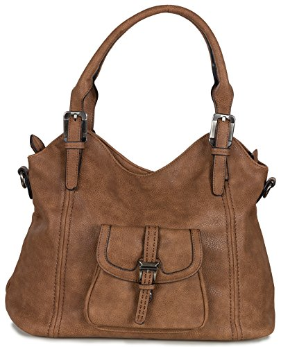 Xuna Damen Schultertasche - Handtasche aus weichem Kunstleder (44 x 32 x 17 cm) Taupe Braun Cognac Braun