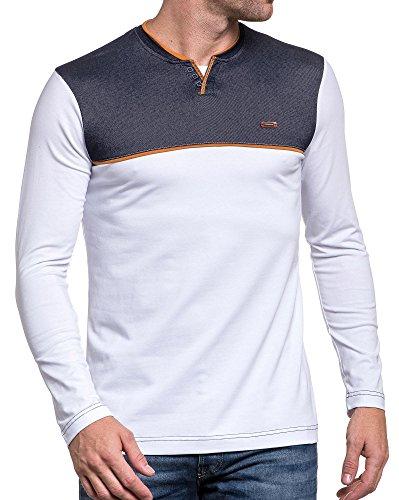 BLZ jeans - Shirt weiß Bi-Material menschlichen V-Ausschnitt Phantasie Tasten Weiß