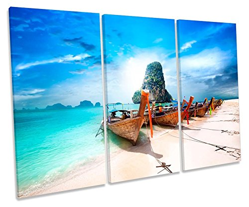 Canvas Geeks Leinwandbild, Motiv: Thailand, Strandboot, Sonnenuntergang, 3 Stück, 120cm Wide x 80cm high