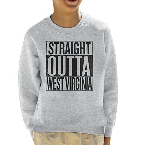 Coto7 Black Text Straight Outta West Virginia US States Kid's Sweatshirt -