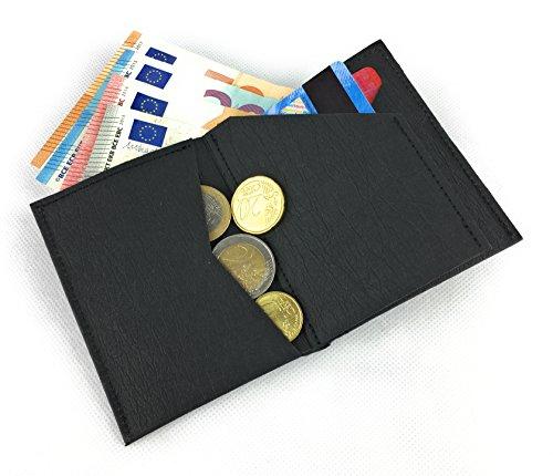 BUORSA - Mini Geldbeutel klein dünn mit Münzfach aus robustem Waschbarem Papier / Veganes Leder in verschiedenen Farben, für Damen und Herren von bun-di Swiss® (BLACK) - 3