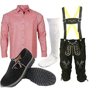 ALL THE GOOD S 1 Trachtenset (Hose +Hemd +Schuhe +Socken) Bayerische Lederhose Trachtenhose Oktoberfest Leder Hose Trachten (Hose 58 Hemd 46/47)