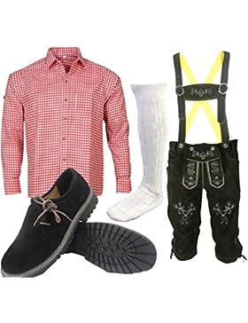 ALL THE GOOD S 1 Trachtenset (Hose +Hemd +Schuhe +Socken) Bayerische Lederhose Trachtenhose Oktoberfest Leder...