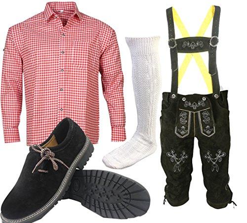 S 1 Trachtenset (Hose +Hemd +Schuhe +Socken ) Bayerische Lederhose Trachtenhose Oktoberfest Leder Hose Trachten (Hose 50 Hemd 40/41)