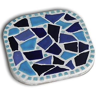 Mosaic Craft Kit,a pair of Coaster, bleu