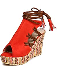 COOLCEPT Damen Schunurung Sandalen mit Absatz
