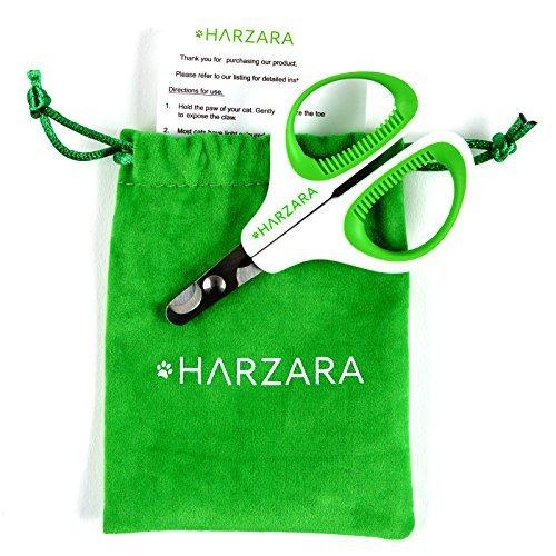 Tijeras profesionales de uñas para mascotas de HarzaraLo mejor para gatos y perros pequeños.Incluye bolsa de almacenamiento y tarjeta de instrucciones (idioma español no garantizado).