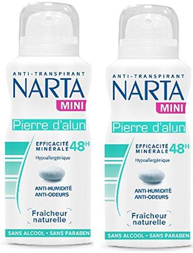 NARTA - Mini Déodorant Femme Atomiseur à La Pierre d'Alun Fraîcheur Naturelle Efficacité 48h - 100 ml - Lot de 2
