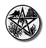 Pentagram 5 nature elements - embroidered patch, 8 X 8 cm.