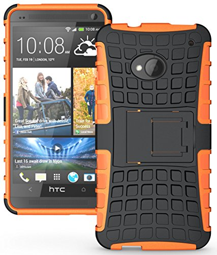 Heartly Flip Kick Stand Hard Dual Armor Hybrid Rugged Bumper Back Case Cover For HTC One M7 Single Sim - Orange